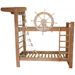 Двухъярусная кровать Пират из ясеня с крутящимся штурвалом