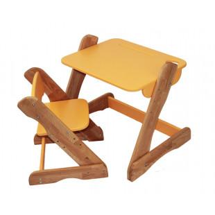 Детский комплект: растущий столик и растущий стульчик из бука. Оранж