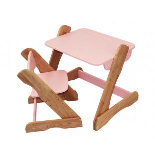Детский комплект: растущий столик и растущий стульчик из бука. Розовый