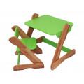 Детский комплект: растущий столик и растущий стульчик. Зеленый