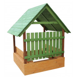Песочница - домик с лавочками, крышей и защитным забором