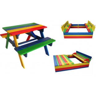 Комплект: песочница с крышкой и столик с лавочками