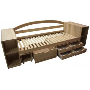 Одноярусная кровать с ящиками и полками София