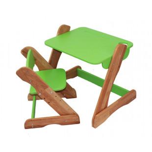 Детский комплект: растущий столик и растущий стульчик из бука. Зеленый