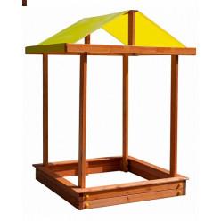 Деревянная песочница с крышей и скамейками Теремок
