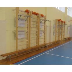 Шведская стенка с овальными перекладинами для спортивного зала