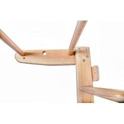 Шведская стенка с гимнастическими кольцами, канатом и двусторонней ребристой доской  ЯСЕНЬ