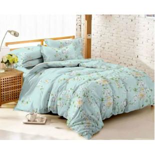 Комплект постельного белья из сатина Цветочная лазурь